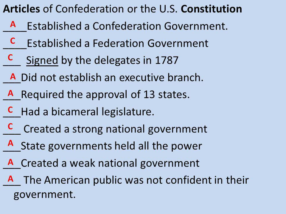 Articles of Confederation or the U.S. Constitution