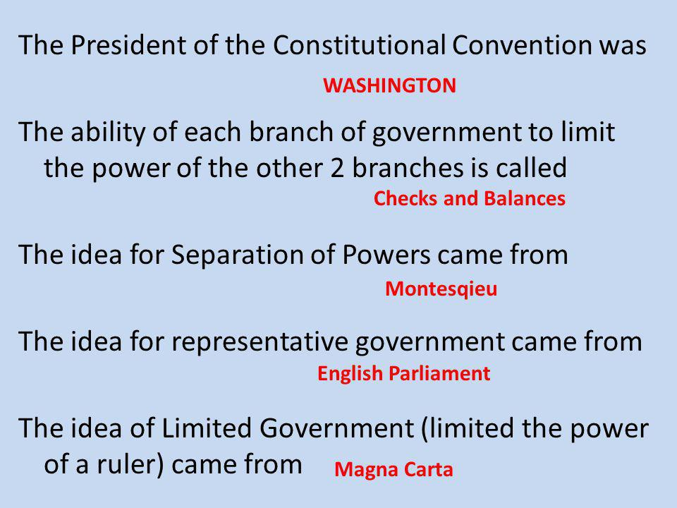 The President of the Constitutional Convention was