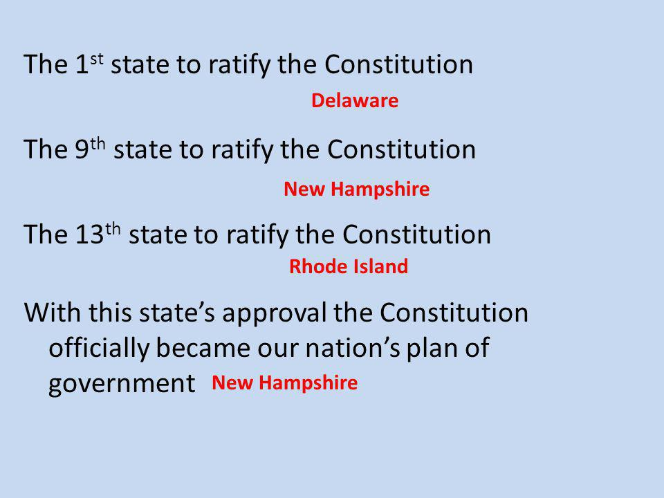 The 1st state to ratify the Constitution