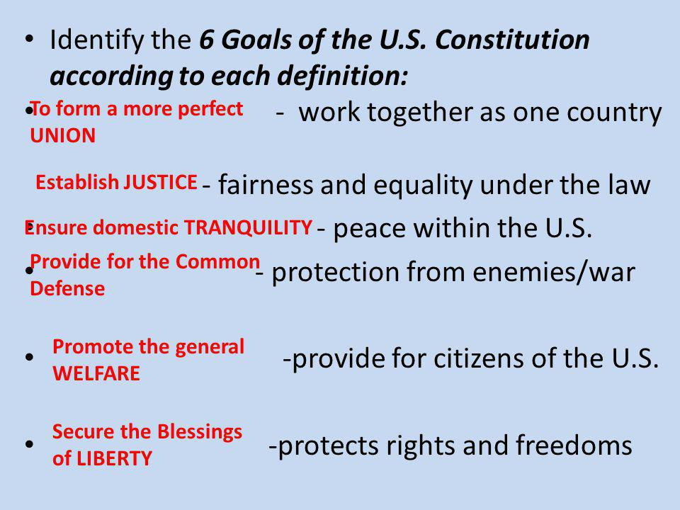 - work together as one country - fairness and equality under the law