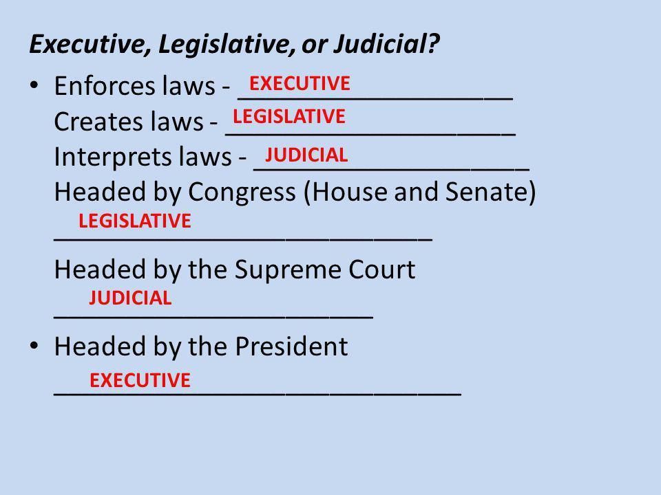 Executive, Legislative, or Judicial