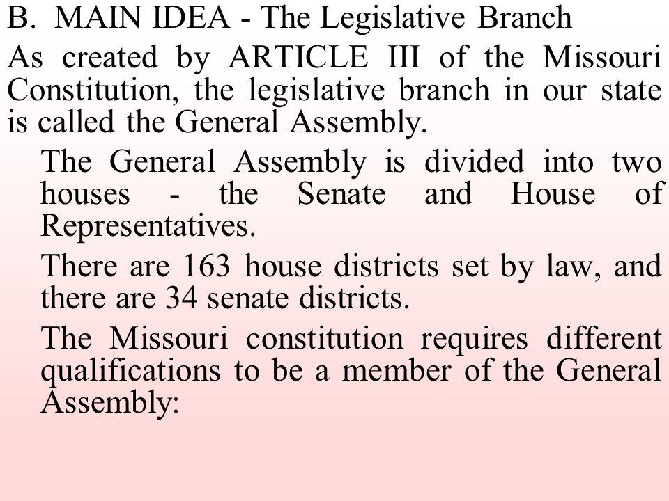 B. MAIN IDEA - The Legislative Branch