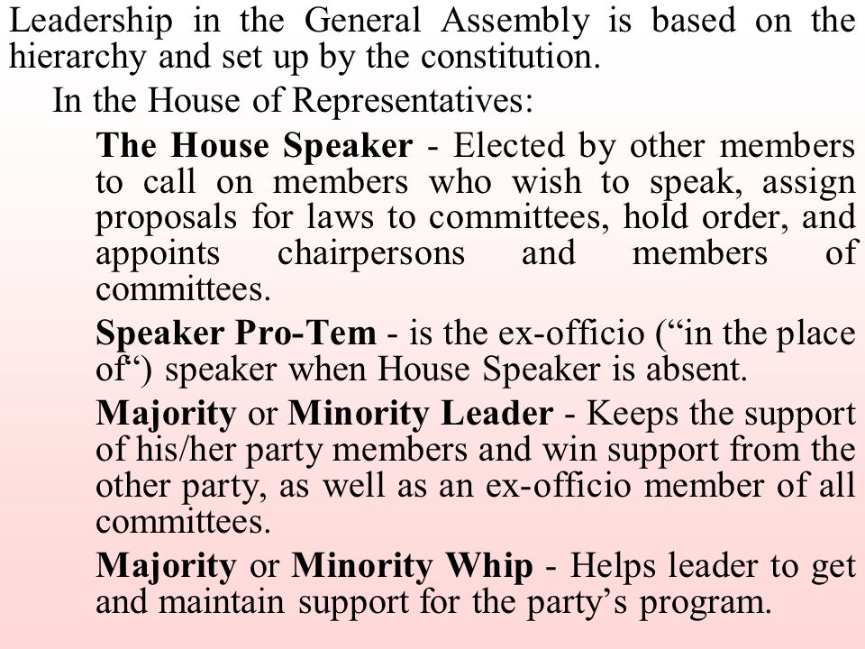 Leadership in the General Assembly is based on the hierarchy and set up by the constitution.