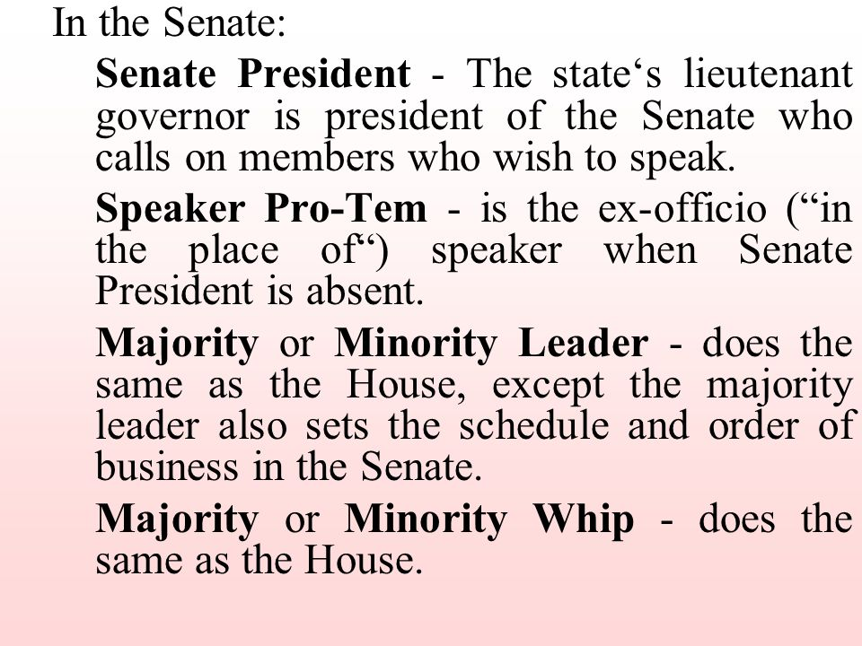In the Senate: Senate President - The state's lieutenant governor is president of the Senate who calls on members who wish to speak.