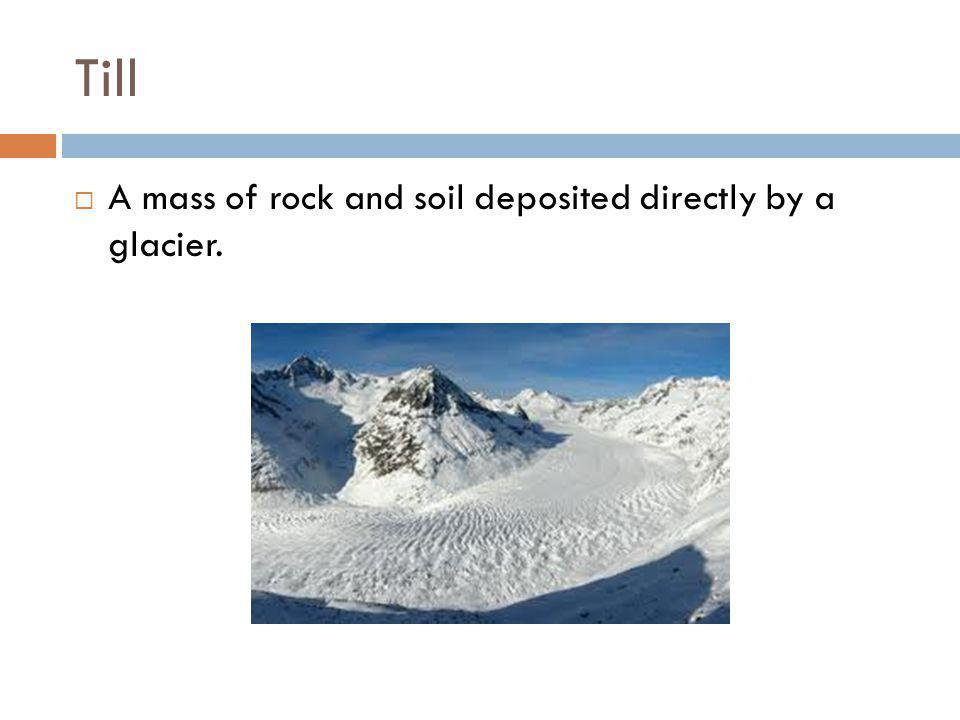 Till A mass of rock and soil deposited directly by a glacier.