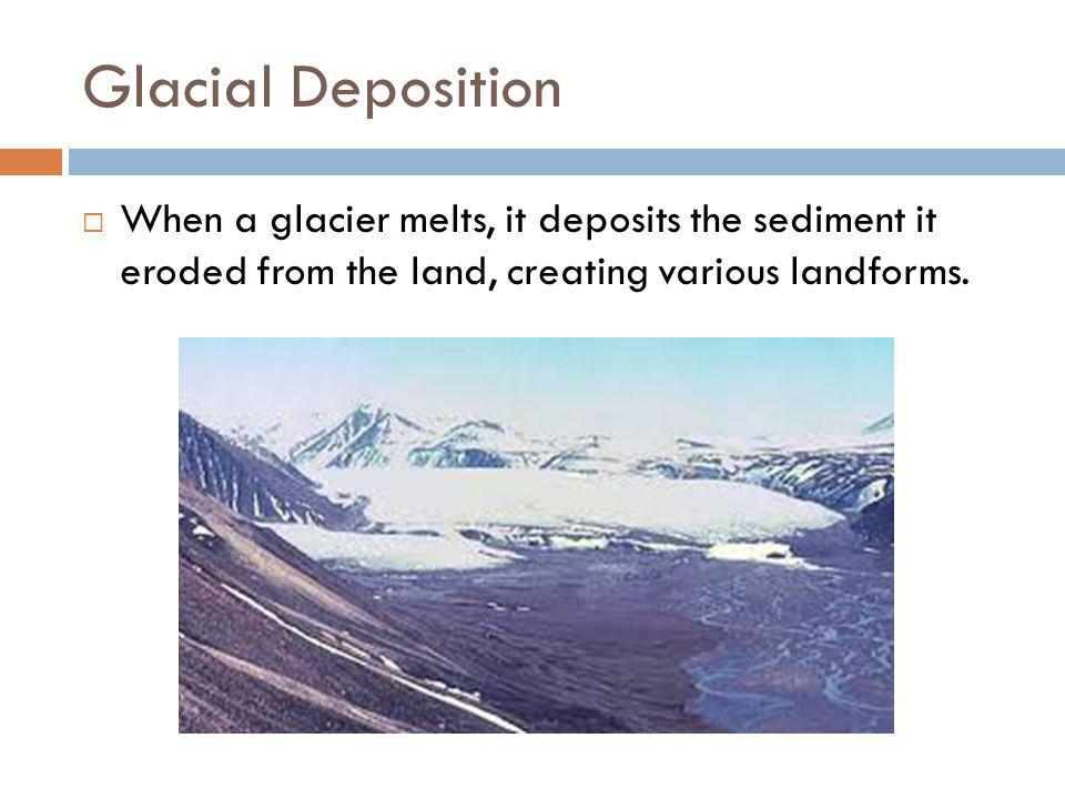 Glacial Deposition When a glacier melts, it deposits the sediment it eroded from the land, creating various landforms.