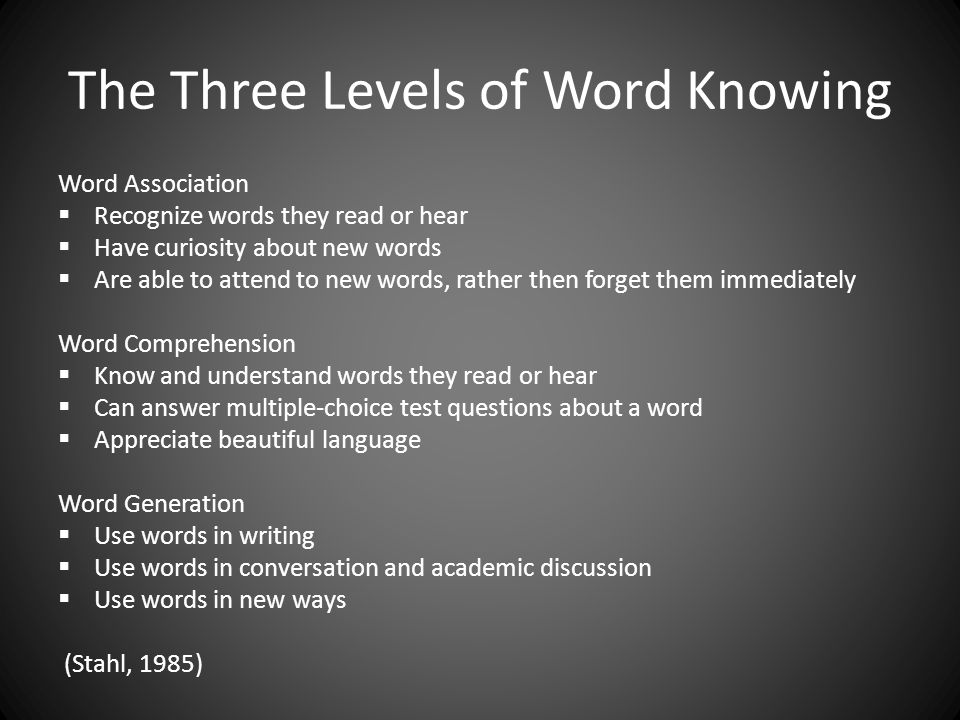 The Three Levels of Word Knowing