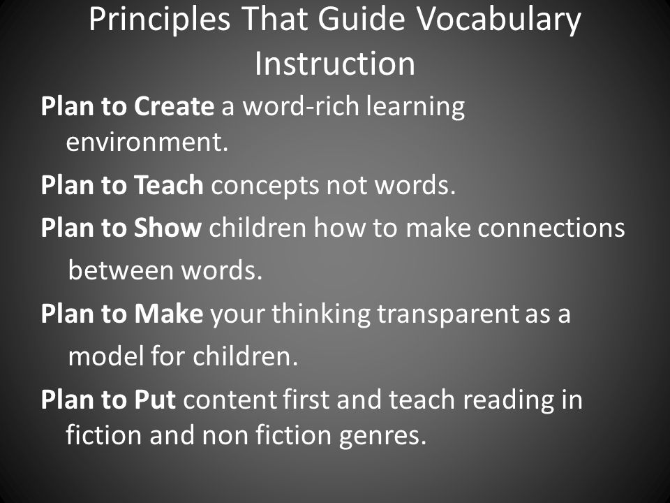 Principles That Guide Vocabulary Instruction