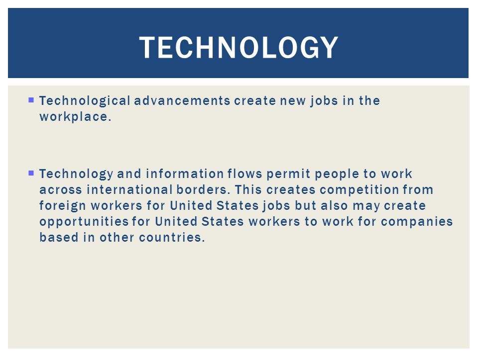 Technology Technological advancements create new jobs in the workplace.