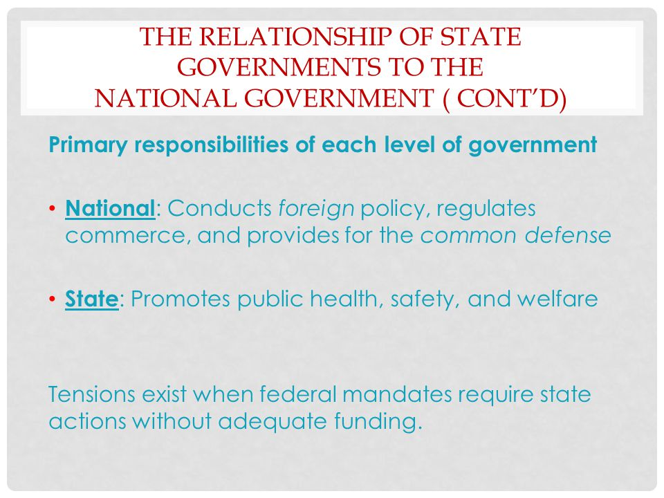 The Relationship of State Governments to the National Government ( Cont'd)
