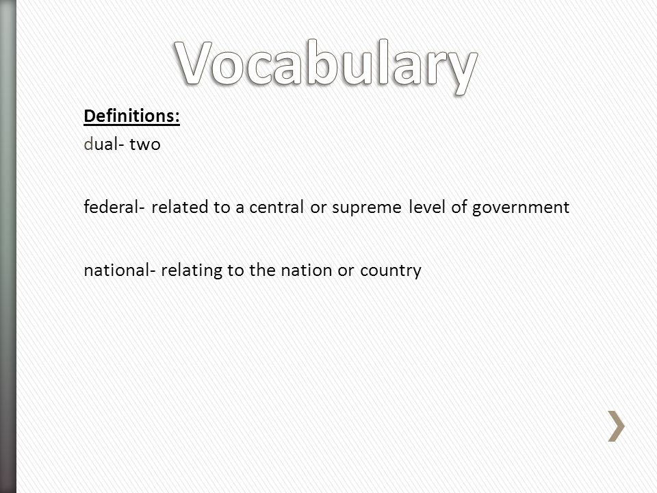 Vocabulary Definitions: dual- two