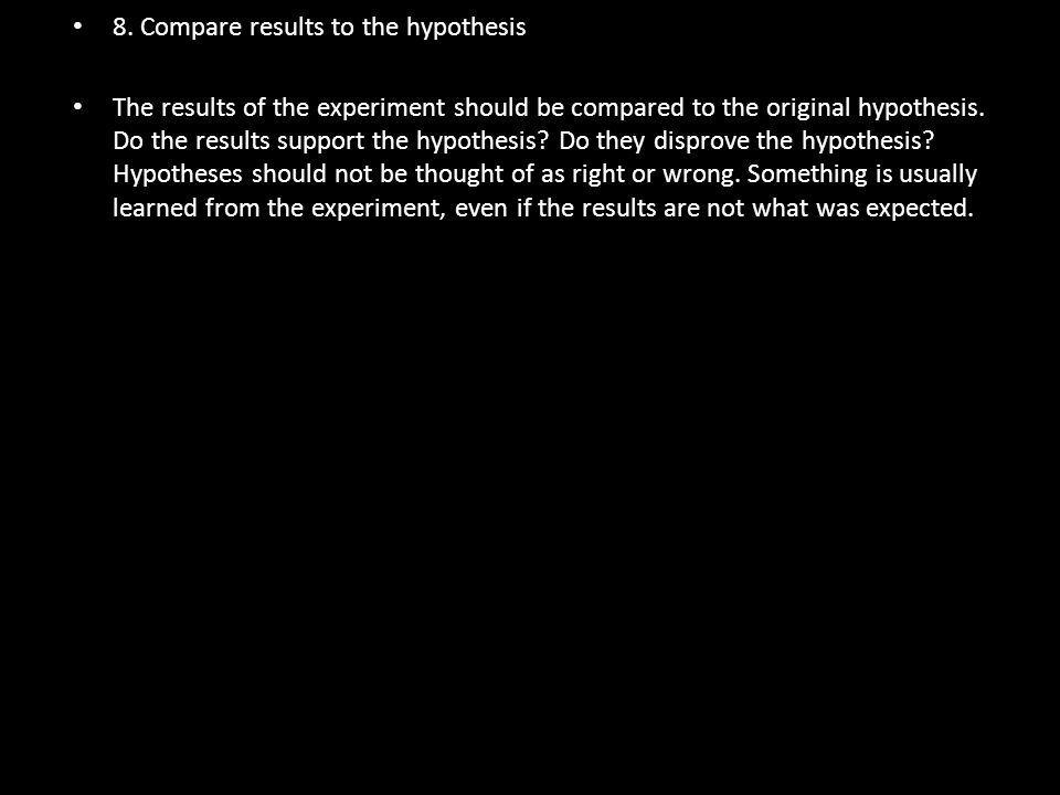 8. Compare results to the hypothesis