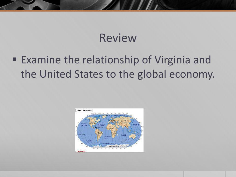 Review Examine the relationship of Virginia and the United States to the global economy.