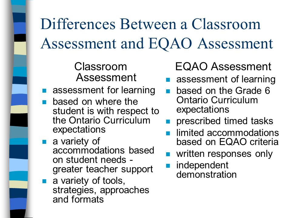Differences Between a Classroom Assessment and EQAO Assessment