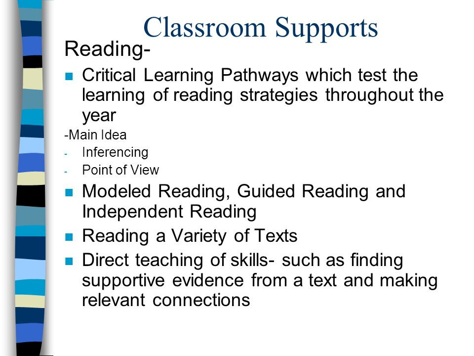 Classroom Supports Reading-