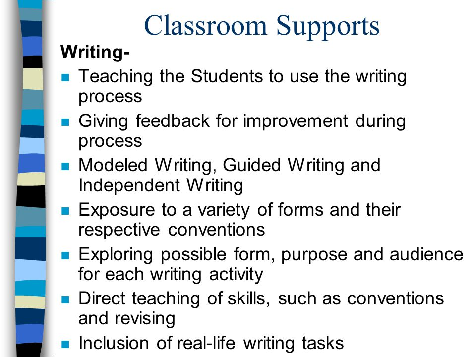 Classroom Supports Writing-