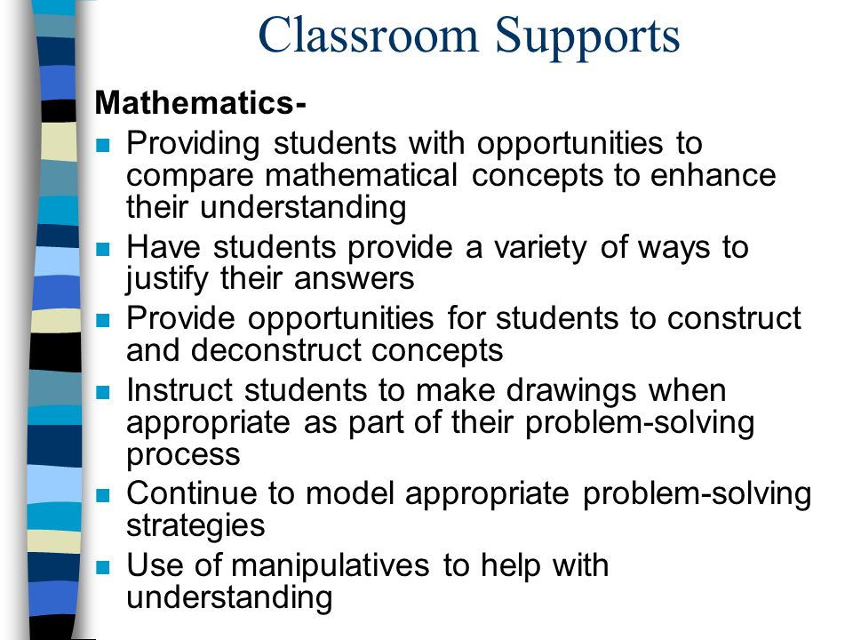 Classroom Supports Mathematics-