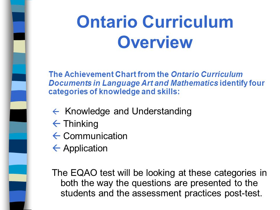 Ontario Curriculum Overview