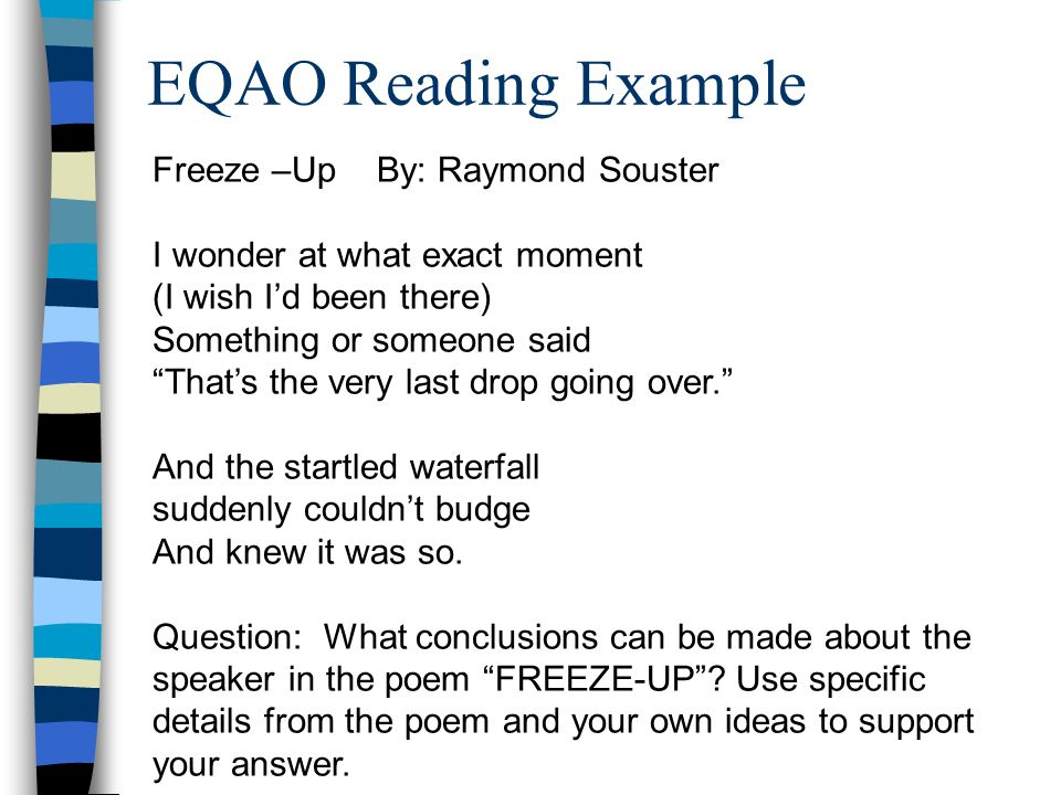 EQAO Reading Example Freeze –Up By: Raymond Souster