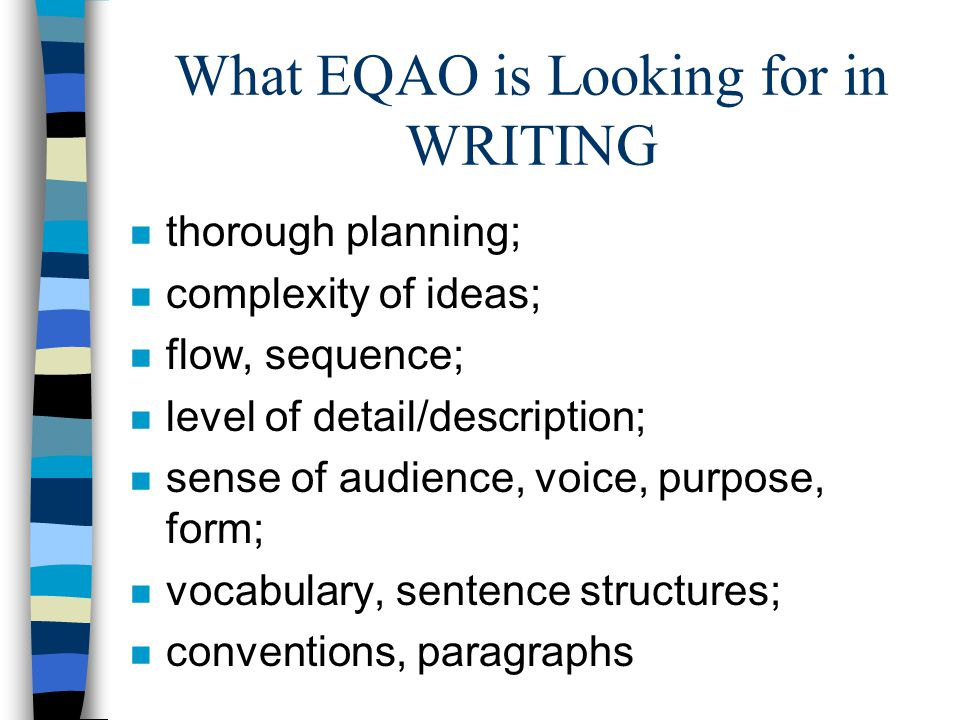 What EQAO is Looking for in WRITING