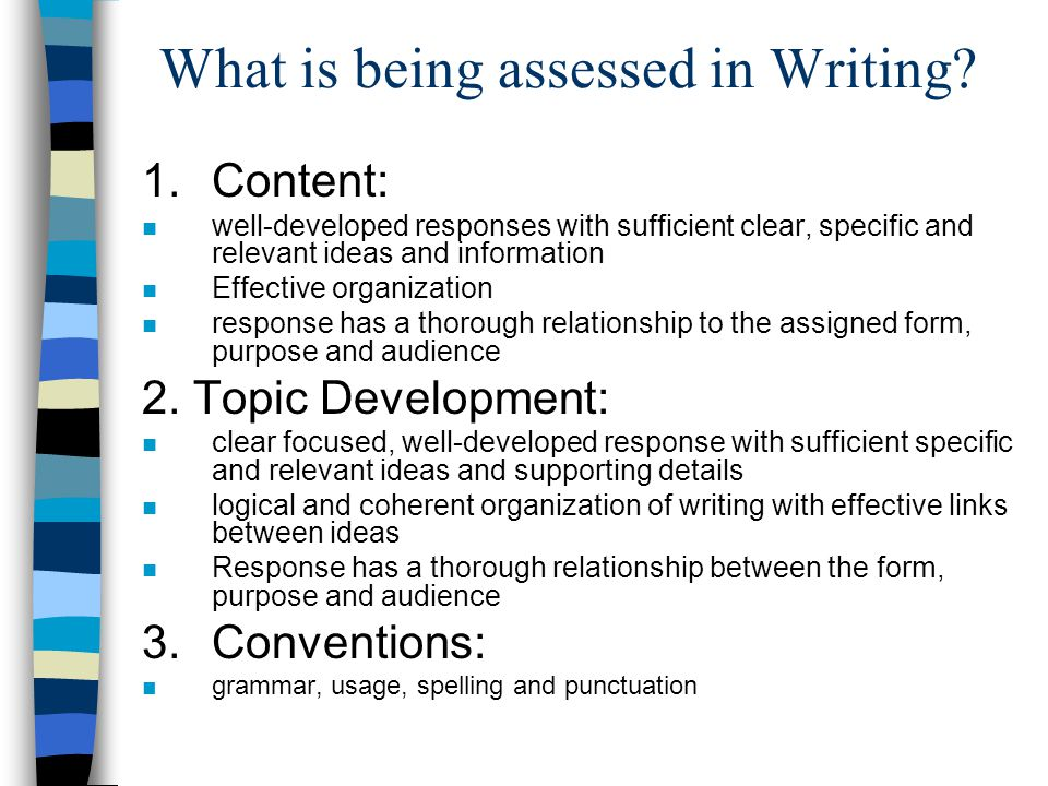 What is being assessed in Writing