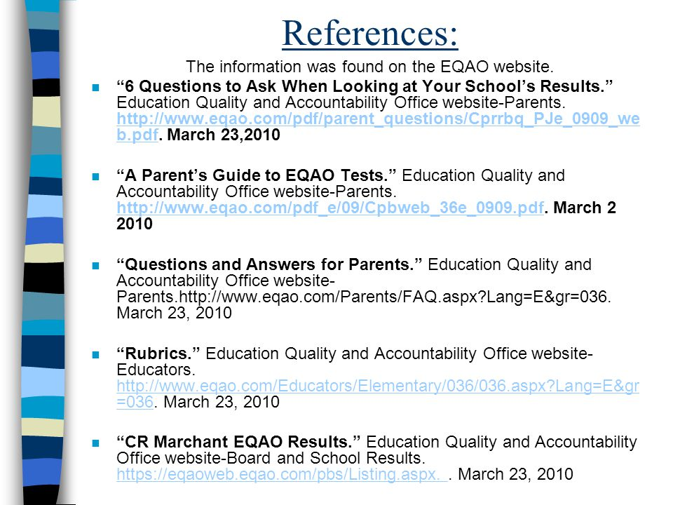 The information was found on the EQAO website.