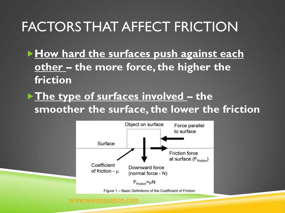 Factors that Affect Friction
