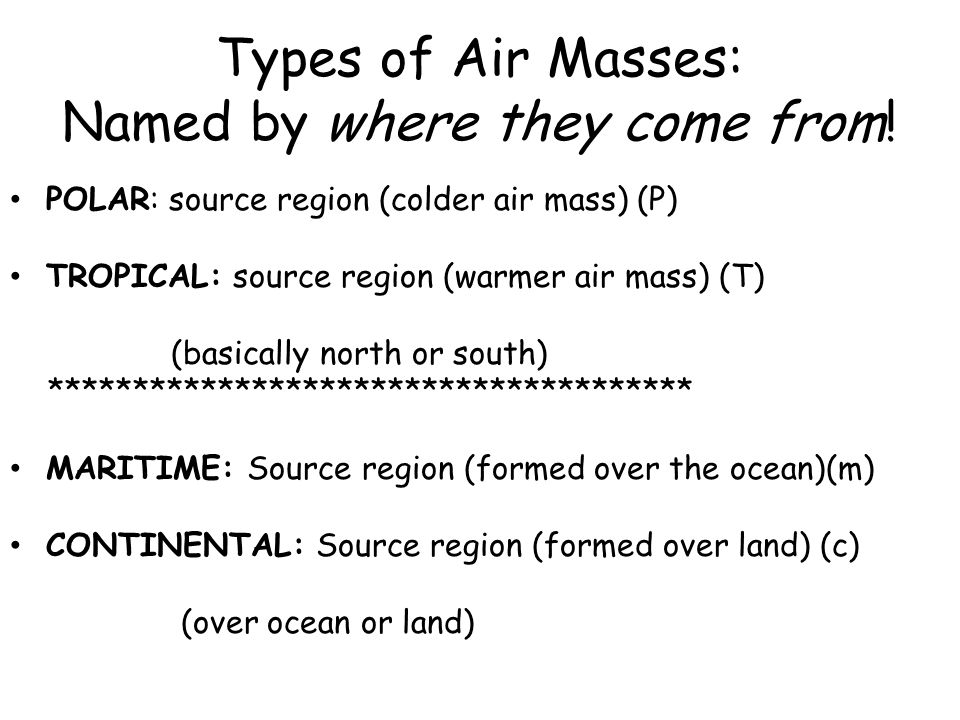 Types of Air Masses: Named by where they come from!