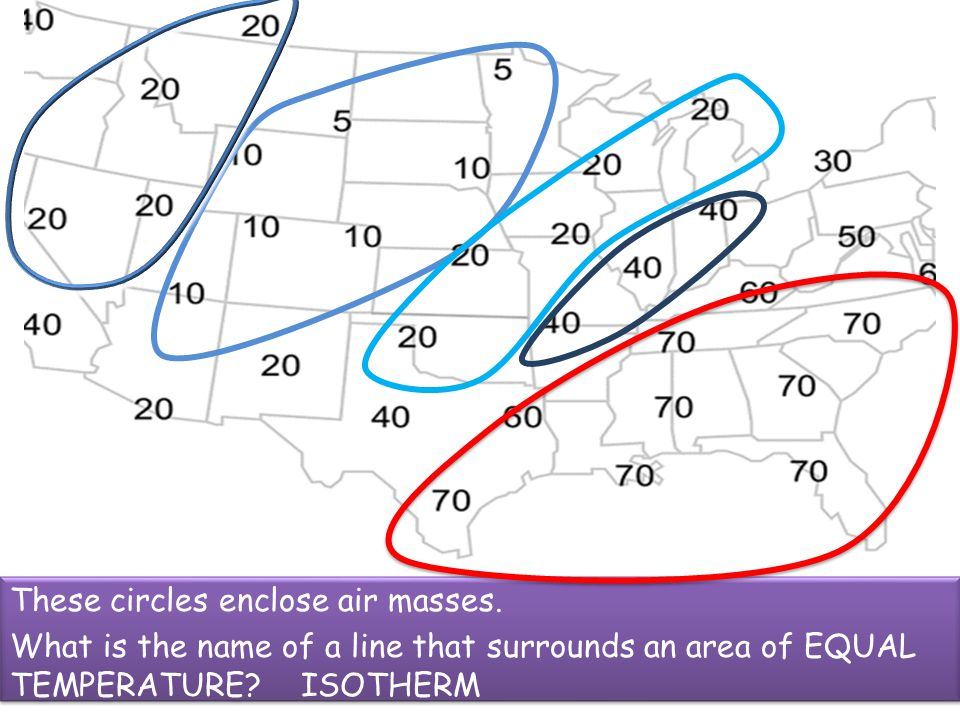 These circles enclose air masses.