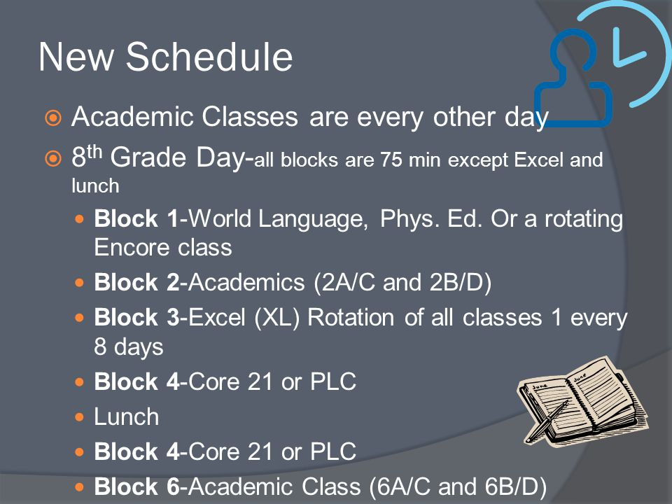 New Schedule Academic Classes are every other day