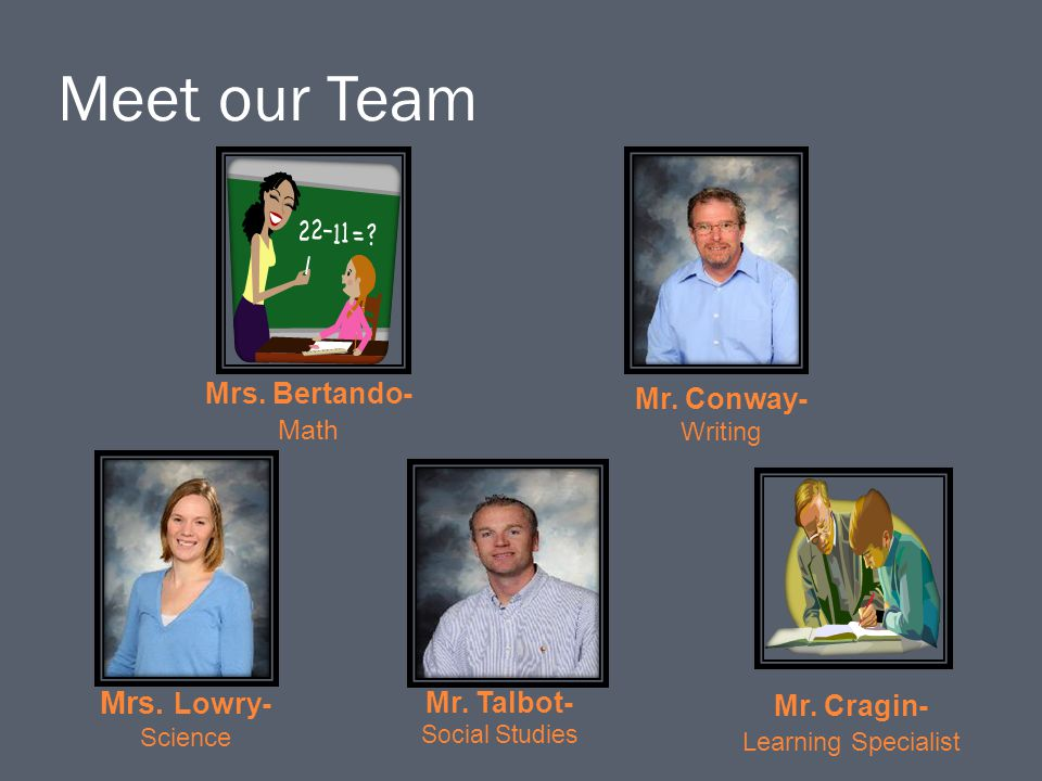 Meet our Team Mrs. Lowry- Mrs. Bertando- Mr. Conway- Mr. Talbot-