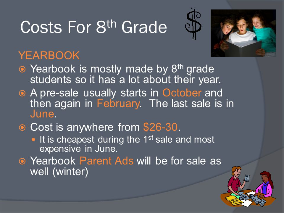 Costs For 8th Grade YEARBOOK
