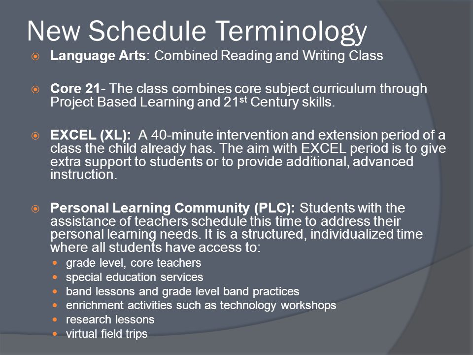 New Schedule Terminology