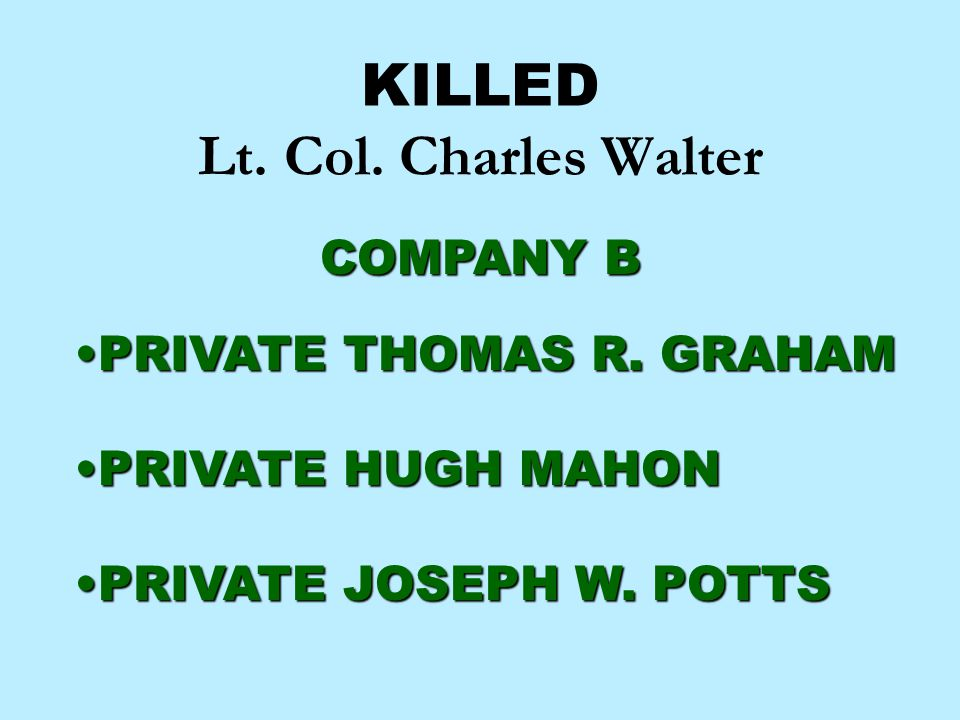 KILLED Lt. Col. Charles Walter