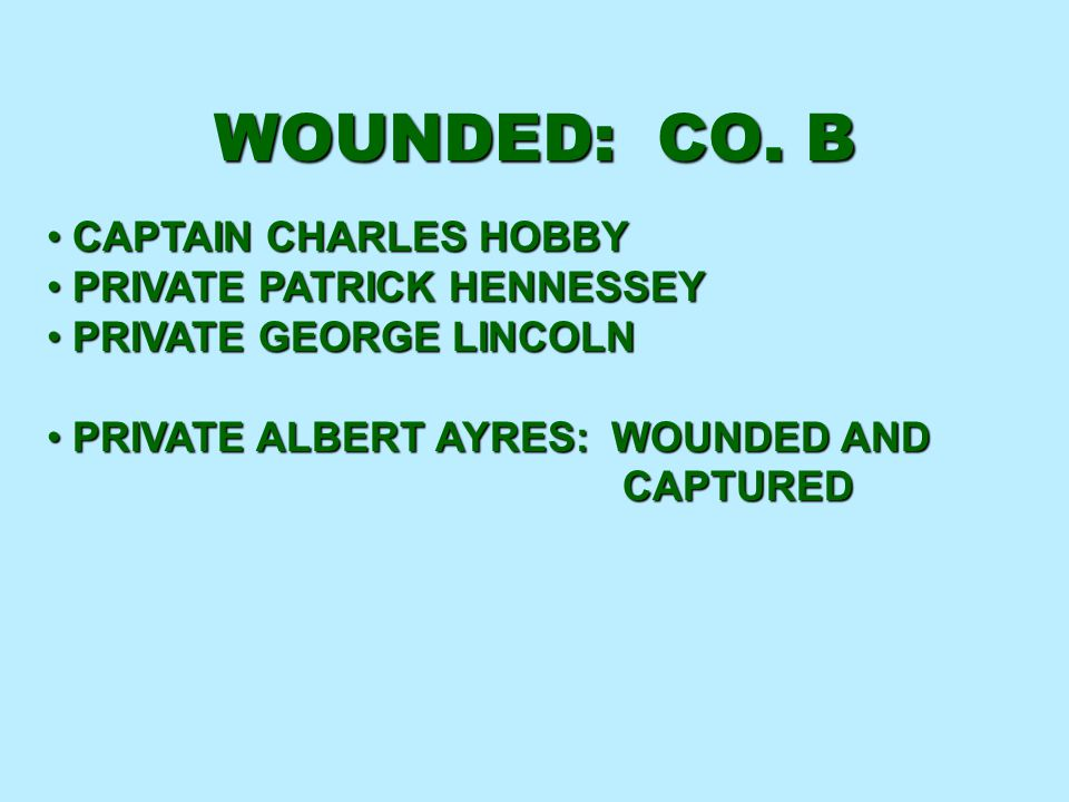 WOUNDED: CO. B CAPTAIN CHARLES HOBBY PRIVATE PATRICK HENNESSEY