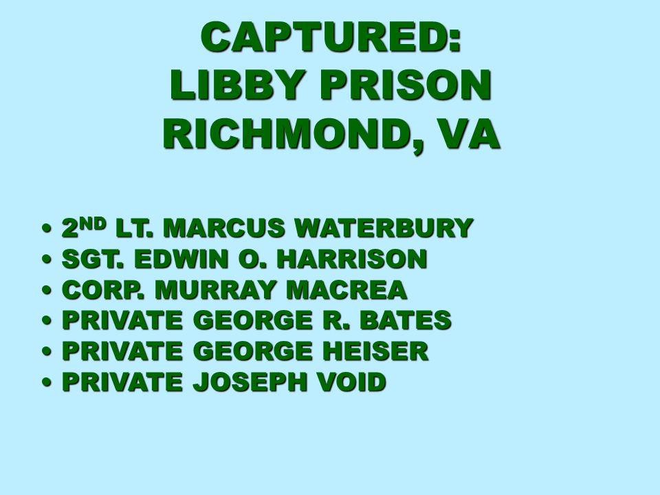 CAPTURED: LIBBY PRISON RICHMOND, VA