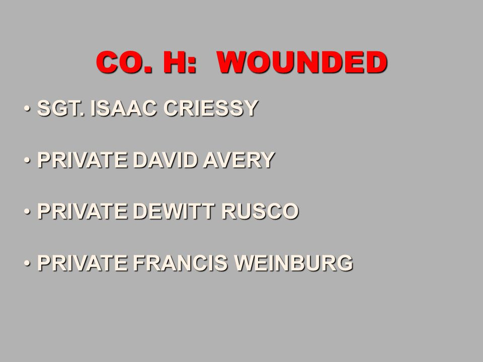 CO. H: WOUNDED SGT. ISAAC CRIESSY PRIVATE DAVID AVERY