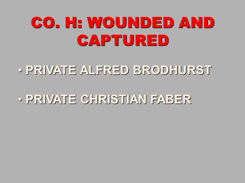 CO. H: WOUNDED AND CAPTURED