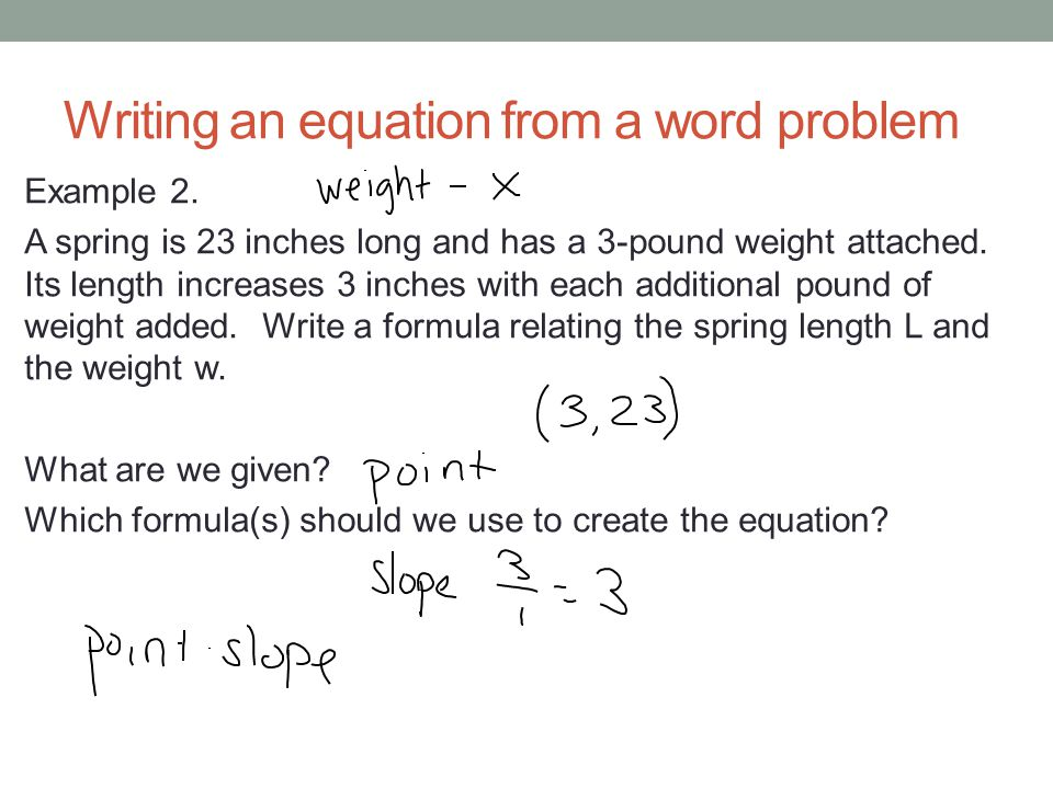 Writing an equation from a word problem