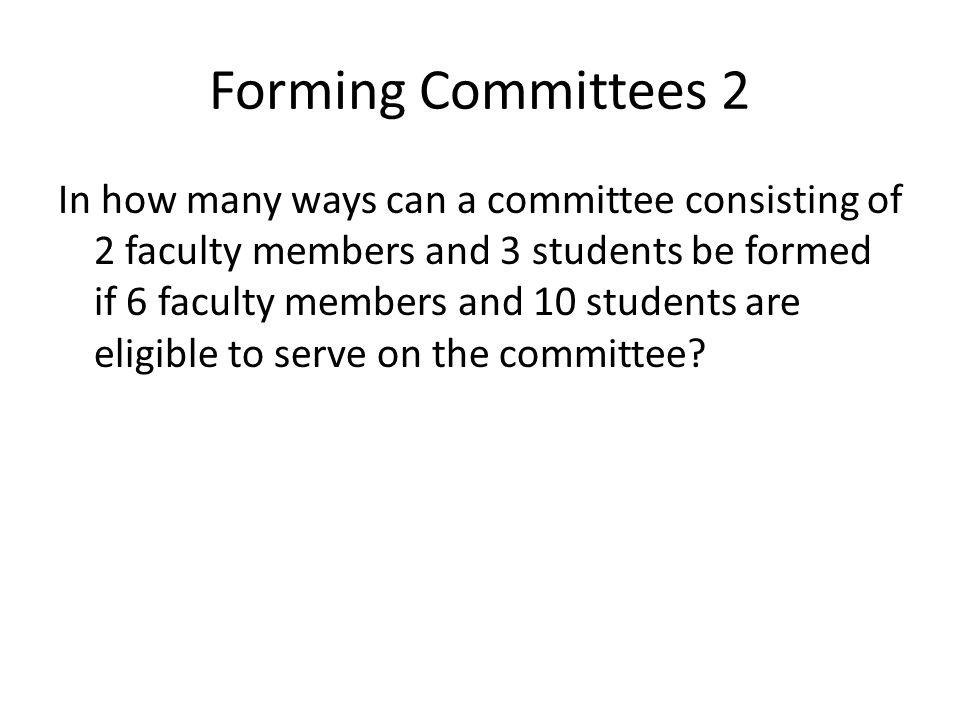 Forming Committees 2