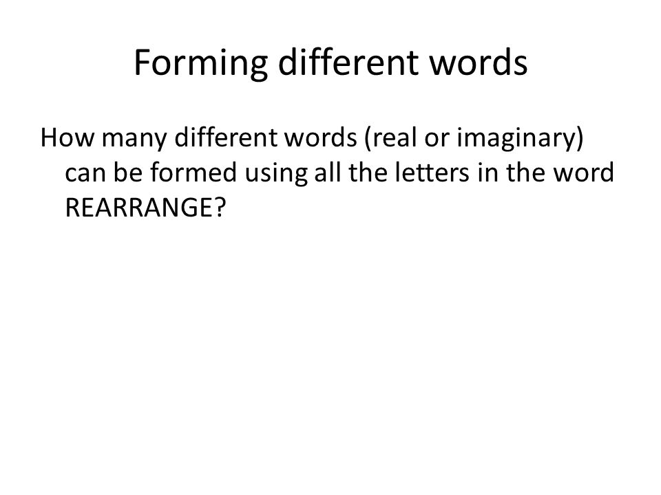 Forming different words