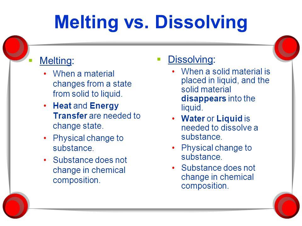 Melting vs. Dissolving Melting: Dissolving: