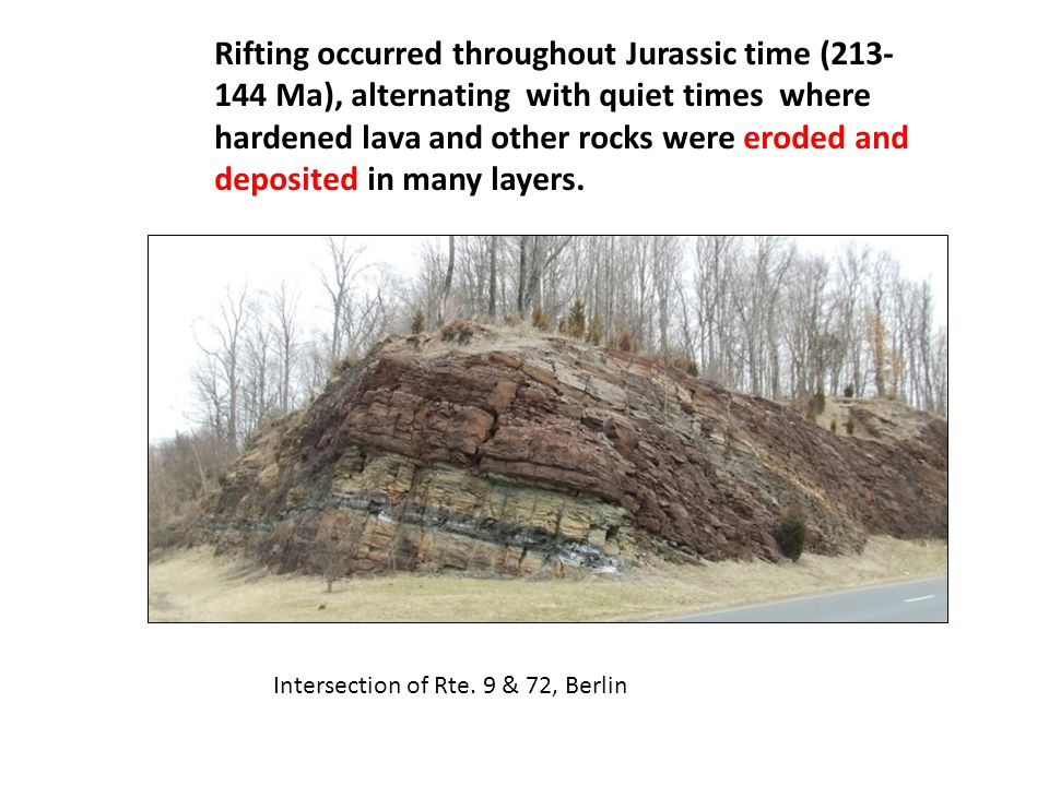 Rifting occurred throughout Jurassic time (213- 144 Ma), alternating with quiet times where hardened lava and other rocks were eroded and deposited in many layers.