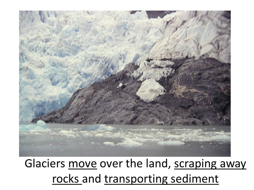 And when the ice moves over rocks, it scrapes away at the rocks