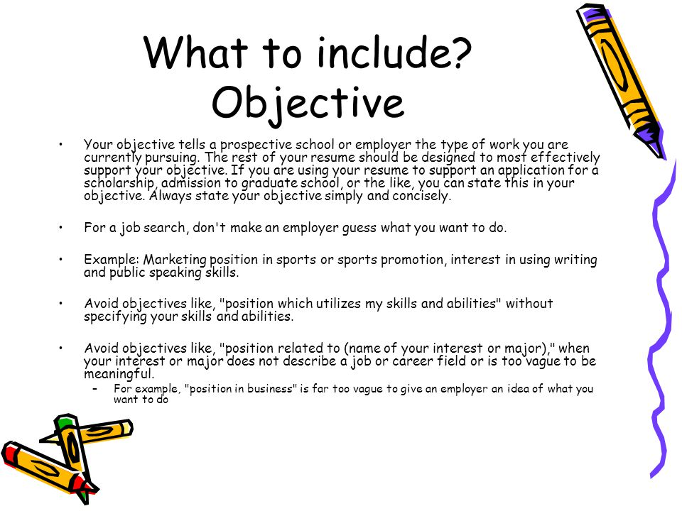 What to include Objective