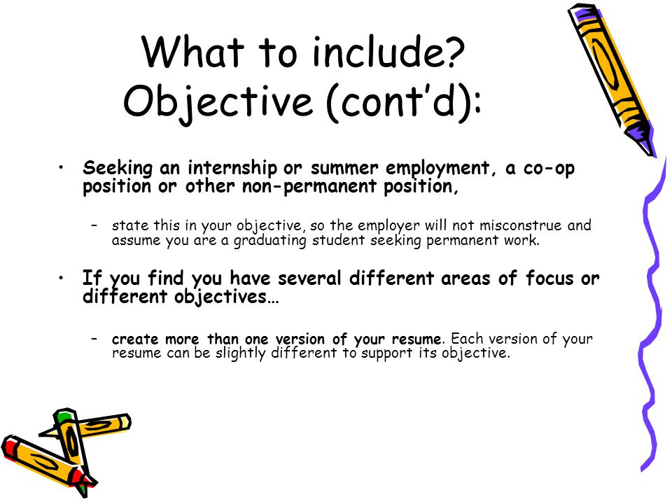 What to include Objective (cont'd):