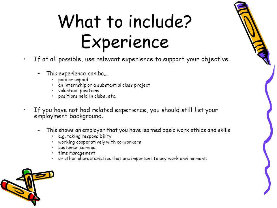 What to include Experience