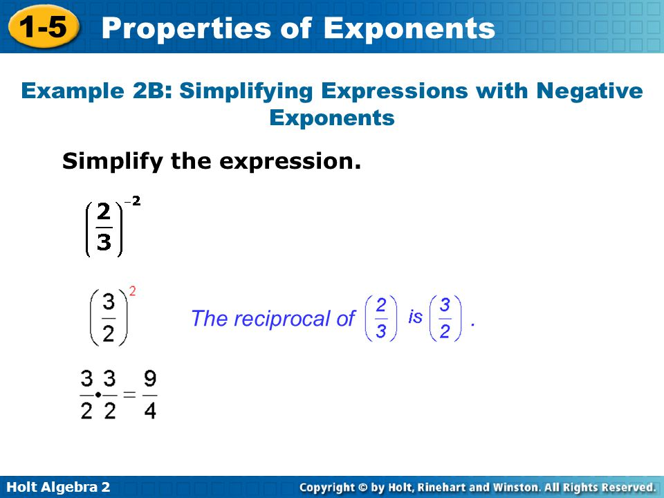 Example 2B: Simplifying Expressions with Negative Exponents