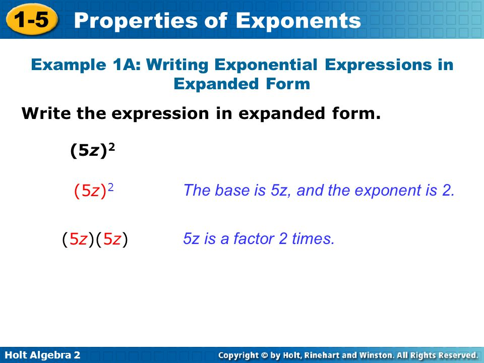 Example 1A: Writing Exponential Expressions in Expanded Form