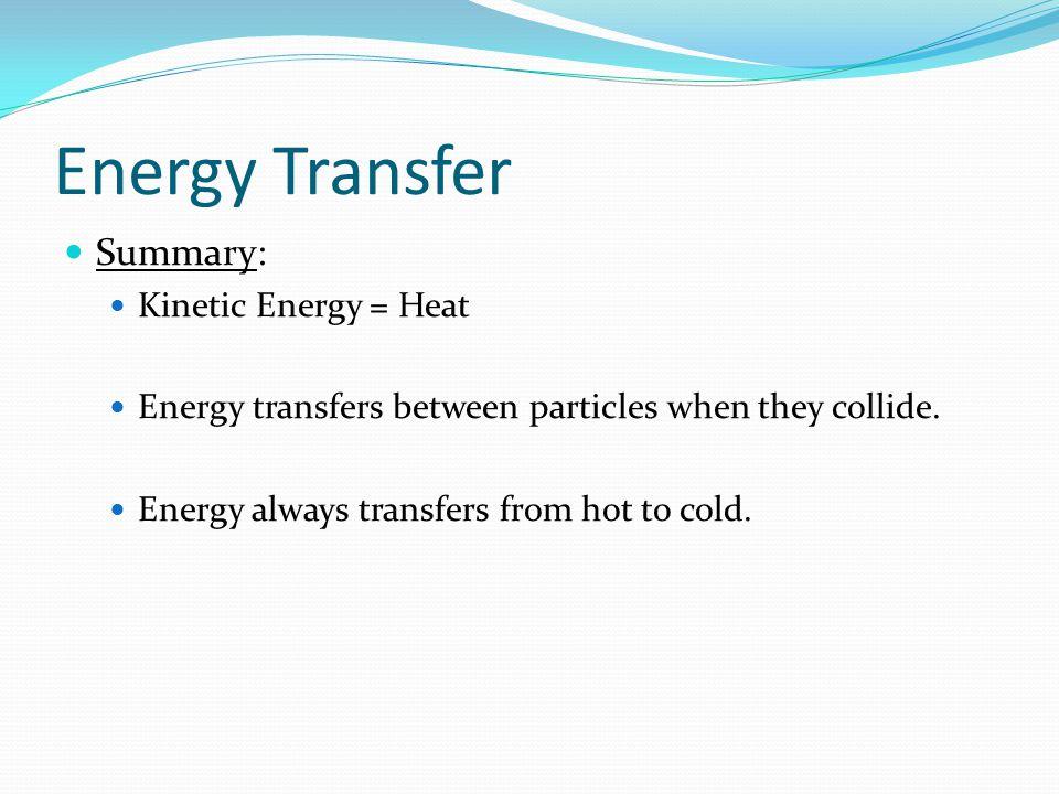 Energy Transfer Summary: Kinetic Energy = Heat